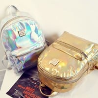 Holographic Backpack Women School Backpacks For Teenage Girls Fashion Travel Rucksack Small PU Leather Backpack