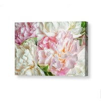 Pink Peonies Flowers Canvas Wall Art. Shabby Chick Pink Bedroom Wall Art.  Spring Blooming Peonies Botanical Large Art Print on Canvas