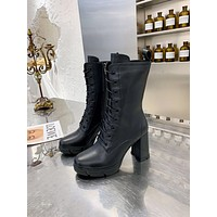 lv louis vuitton trending womens men leather side zip lace up ankle boots shoes high boots 237
