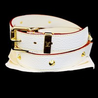 Authentic LOUIS VUITTON LV Ceinture Suhali Large Belt Leather White 80/32 61B856