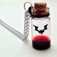 Vampire Blood Vial Necklace, Halloween Accessory, Horror Decoration, Spooky Prop, Monster Hunter, Bat Creature, Red Blood Drop