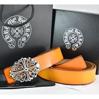 Chrome Hearts  Men Fashion Smooth Buckle Belt Leather Belt
