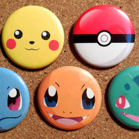 Pokemon - Generation 1 Starter Button Set - Pikachu, Squirtle, Bulbasaur, Charmander and a Pokeball