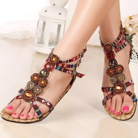 NEW Fashion Women's Bohemian Summer New Women's Rhinestones Sandals Flip-flops Shoes SH0281 = 1928757636