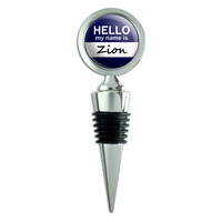 Zion Hello My Name Is Wine Bottle Stopper