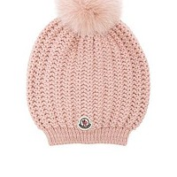 Moncler Berretto Beanie in Light Pink   FWRD