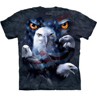 PATRIOTIC MOON EYES EAGLE T-Shirt The Mountain USA American Flag Bird S-3XL NEW