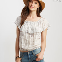 Sheer Floral Ruffle Off-The-Shoulder Crop Top