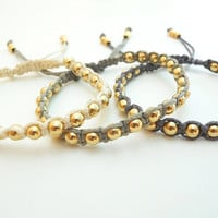 Gold beads Macramé Bracelet with 5 Different Shades of  Waxed Cotton Cord