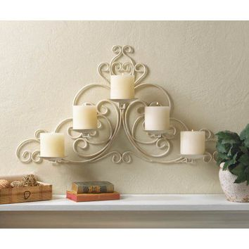 Vintage White Scrollwork Candle Wall Sconce Accent