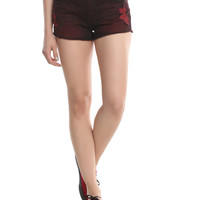 Blackheart Red Over-Dye Distressed Shorts