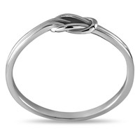 Silver Infinity Ring, Plated Silver Love Knot Ring, Tie Knot Ring, Stacking Ring