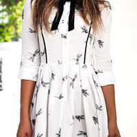 White Dragonfly Printed Bow-Tie Pleated Dress