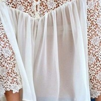 White Chiffon Lace Airy Scoop Neck 3/4 Sleeve Casual Pleated Blouse