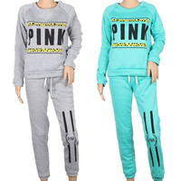 Pink Round Necked Sport Alphabets Words Sportswear Outfit Two Piece Set _ 9082