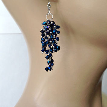 SALE 35% OFF Blue Titanium Waterfall Earrings Wire Wrapped Fine Silver Cascade Earrings Cobalt Blue Titanium Double Point Crystals