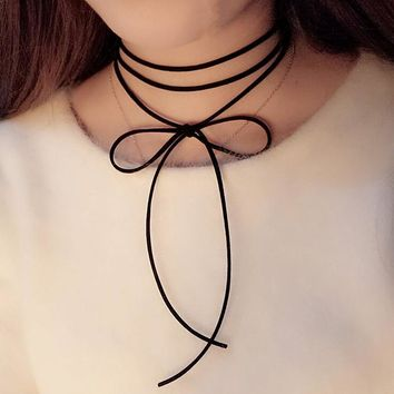 Women'S Black Bowknot Brown Leather Long Velvet Collar Choker Necklace Pendant Rope Fashion Jewelry