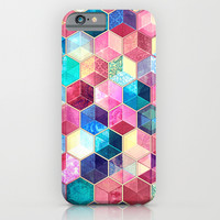Topaz & Ruby Crystal Honeycomb Cubes iPhone & iPod Case by Micklyn