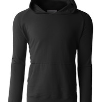 LE3NO Mens Lightweight Raglan Pullover Hoodie with Side Zippers