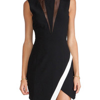 Black Sleeveless Cut-Out Mesh Asymmetrical Mini Dress