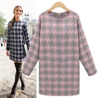 Checkered Long-Sleeve Knitted Dress