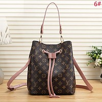 Louis Vuitton LV Women Fashion New Monogram Leather Shopping Leisure Bucket Bag Shoulder Bag
