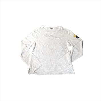 Michigan Wolverines Long Sleeve Burnout Tee with Safety Pins