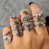 12 PC Creatures Big & Small Boho Ring Set