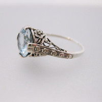 Gorgeous Vintage Deco Style Aquamarine Sterling Silver Filigree Ring