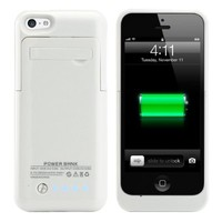 ShineFuture Slim External Rechargeable Backup Battery Charger Charging Case Cover For iPhone 5G 5C 5S With Pop-Out Kickstand 2200mAh (white)