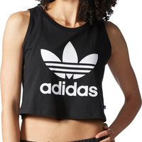 """Adidas"" Fashion Letter Print Round Neck Sleeveless Vest Crop Top T-shirt"