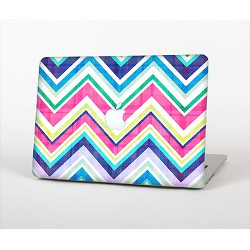 """The Vibrant Pink & Blue Layered Chevron Pattern Skin Set for the Apple MacBook Pro 13"""" with Retina Display"""