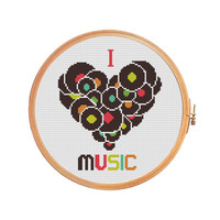 I Love Music - cross stitch pattern - gifts for him - counted cross stitch patterns - needlepoint - Instant download - vinyl record - love