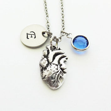 Heart Initial Necklace, Anatomical Heart, Cardiologist Gift, Silver Jewelry, Swarovski Birthstone,Personalized Monogram,Hand Stamped Initial