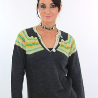 80s Striped Sweater Knit Gray Button Up Ombre