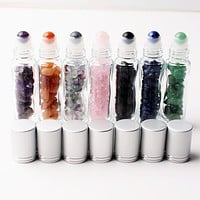 Natural Crystal Essential Oil Aromatherapy Roller Ball Bottle