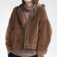 New artistic retro casual corduroy hooded short jacket long sleeve blouse