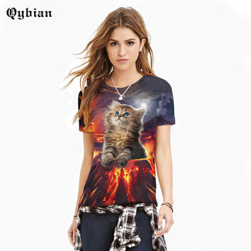2017 new fashion t-shirts summer Short sleeve lovers t shirts lovers clothes flame Cat printed O neck Top tees
