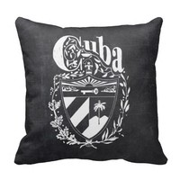 Chalkboard Cuba Coat of Arms Typography Pillows