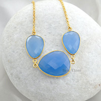 Beautiful Three Blue Chalcedony Nugget Micron Gold Plated 925 Sterling Silver Necklace #7369
