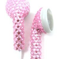 Pink (White Cord) Crystal Rhinestone Earphones Earbuds with Microphone