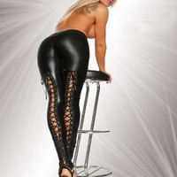 Sexy Lace Up Metallic Leather Leggings [6259288964]