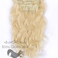 Brazilian 9 Piece Body Wave Human Hair Weft Clip-In Extensions in #22