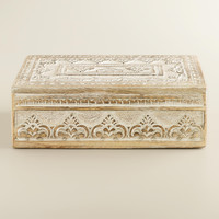 Whitewash Carved Brooklyn Jewelry Box - World Market