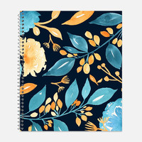 Teal and Golden Flowers Notebook, Waterproof Cover, Journal, Flowers Notebook, Floral Journal, School Supplies, College Ruled
