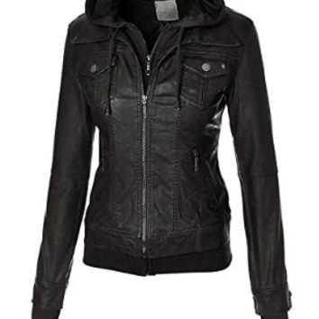 MBJ WJC664 Womens Faux Leather Jacket with Hoodie S BLACK