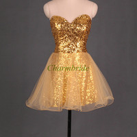 short sequins prom dresses gold organza gowns for party sweetheart holiday dresses cheap homecoming dresses