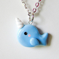 Blue Narwhal Necklace from Cat Bear Express
