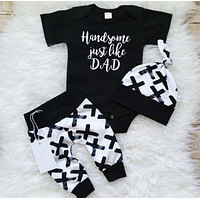 Pudcoco Boy Set 0-24M  3Pcs Newborn Baby Boys Cotton Top Romper Pants Leggings Outfits Clothes