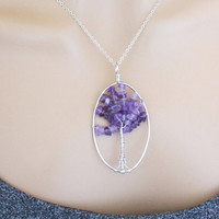 Tree of life, Gold, Silver, Multi, Color, Necklace, Lovely, Modern, Tree, Amethyst, Necklace, Birthday, Best friend, Sister, Gift, Jewelry